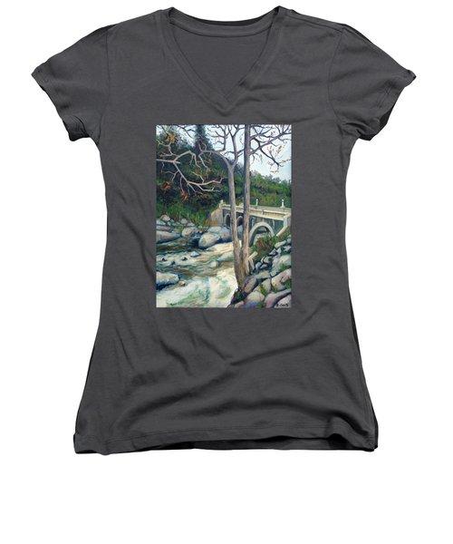 Pumpkin Hollow Bridge Women's V-Neck T-Shirt