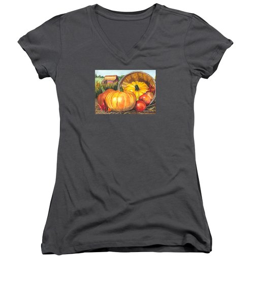 Pumpkin Pickin Women's V-Neck T-Shirt (Junior Cut) by Carol Wisniewski