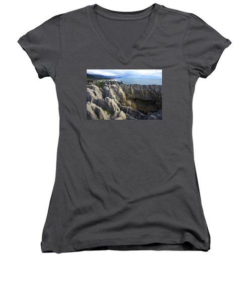 Women's V-Neck T-Shirt (Junior Cut) featuring the photograph Punakaiki Pancake Rocks #2 by Stuart Litoff