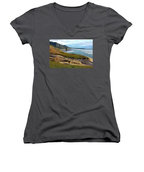 Women's V-Neck T-Shirt (Junior Cut) featuring the photograph Punakaiki Truman Track by Stuart Litoff