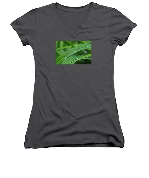 Pure Green Women's V-Neck T-Shirt (Junior Cut) by Julie Andel