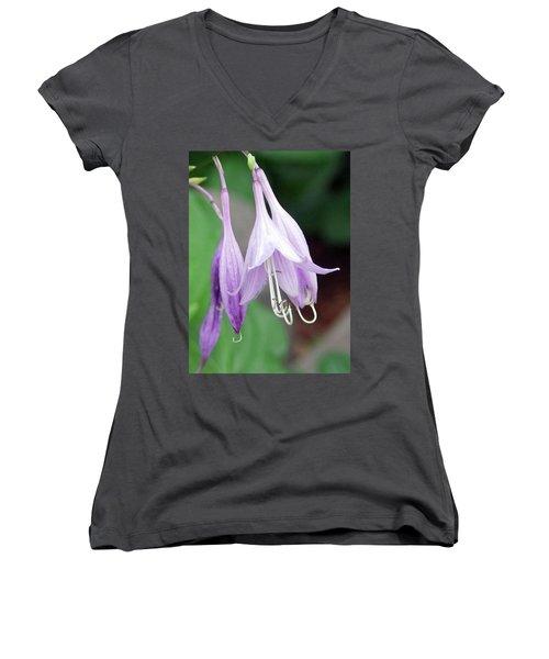 Purple And White Fuchsia Women's V-Neck
