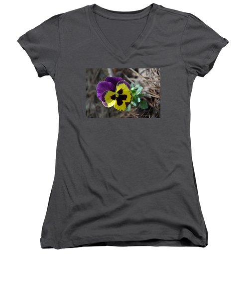 Women's V-Neck T-Shirt (Junior Cut) featuring the photograph Purple And Yellow Pansy by Tara Potts