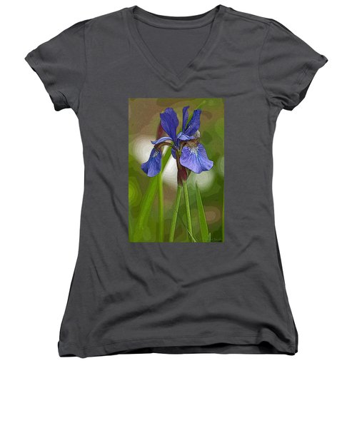 Purple Bearded Iris Watercolor With Pen Women's V-Neck T-Shirt