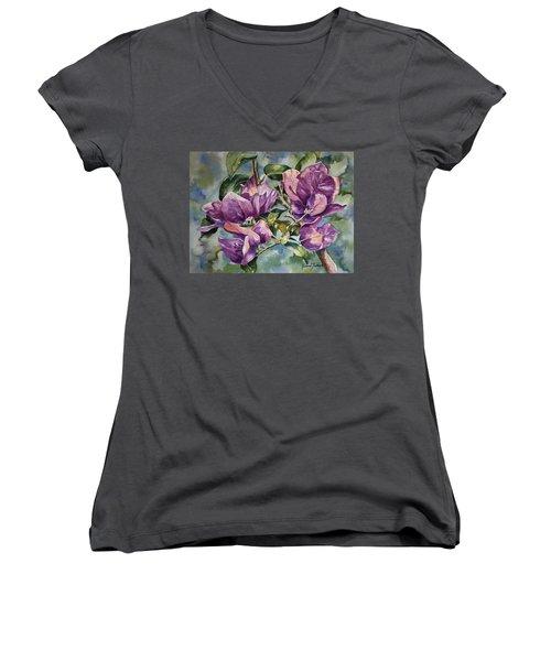Purple Beauties - Bougainvillea Women's V-Neck T-Shirt (Junior Cut) by Roxanne Tobaison