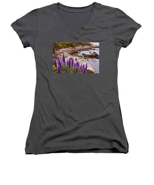 Purple California Coastline Women's V-Neck T-Shirt (Junior Cut) by Melinda Ledsome