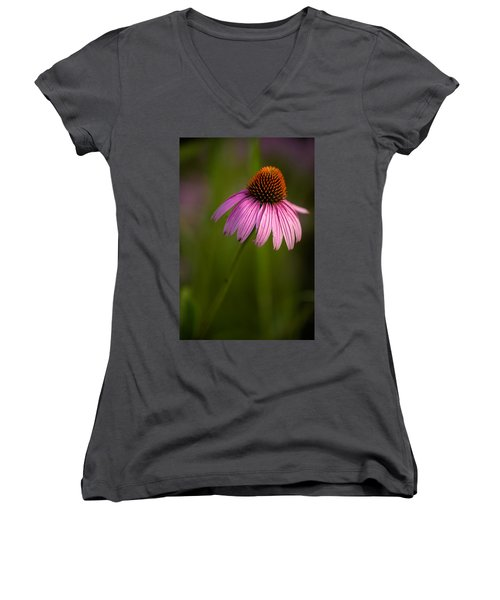 Purple Cone Flower Portrait Women's V-Neck (Athletic Fit)