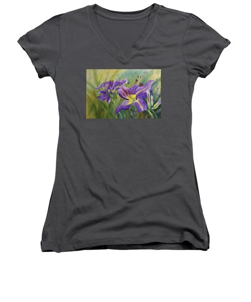 Purple Day Lily Women's V-Neck (Athletic Fit)