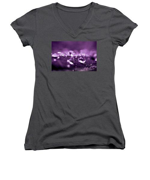 Purple Droplets Women's V-Neck T-Shirt