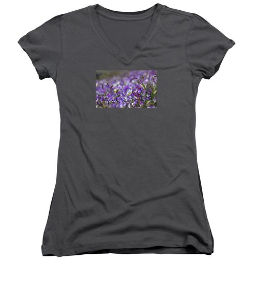 Purple Flower Bed Women's V-Neck