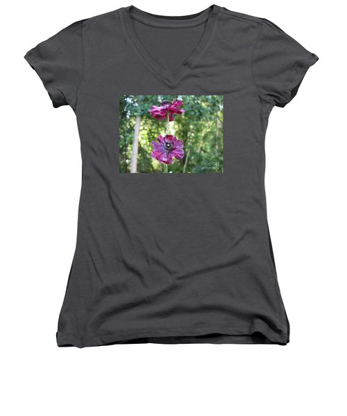 Women's V-Neck T-Shirt (Junior Cut) featuring the photograph Purple Flowers by HEVi FineArt