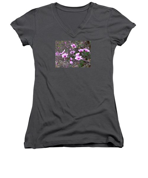 Women's V-Neck T-Shirt (Junior Cut) featuring the photograph Purple Flowers by Jasna Gopic