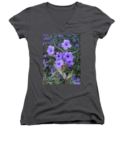 Women's V-Neck T-Shirt (Junior Cut) featuring the photograph Purple Flowers by Laurel Powell