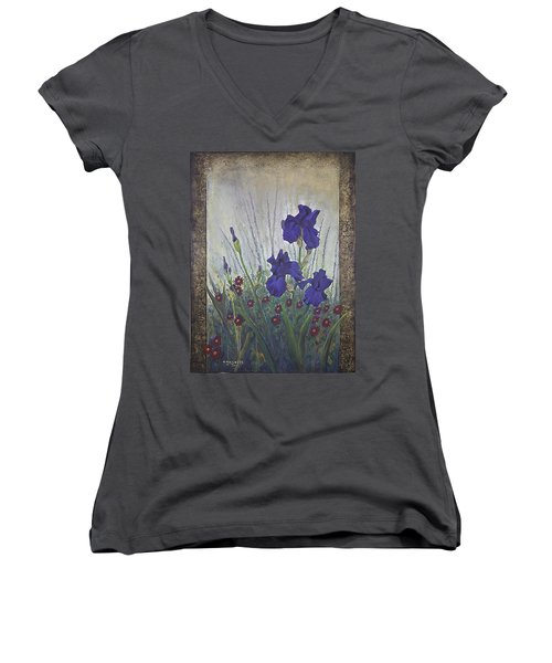 Women's V-Neck T-Shirt (Junior Cut) featuring the painting Purple Iris by Rob Corsetti