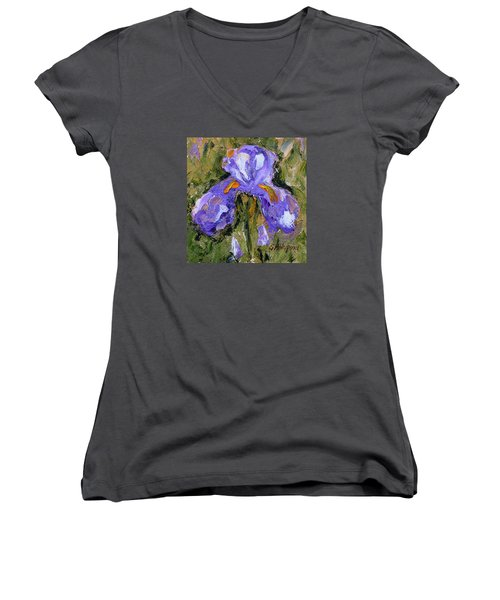 Purple Iris2 Women's V-Neck T-Shirt