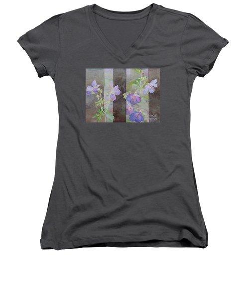 Purple Ivy Geranium Women's V-Neck T-Shirt