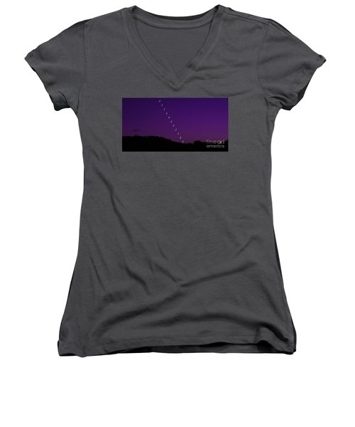Purple Moon Setting In West Women's V-Neck (Athletic Fit)