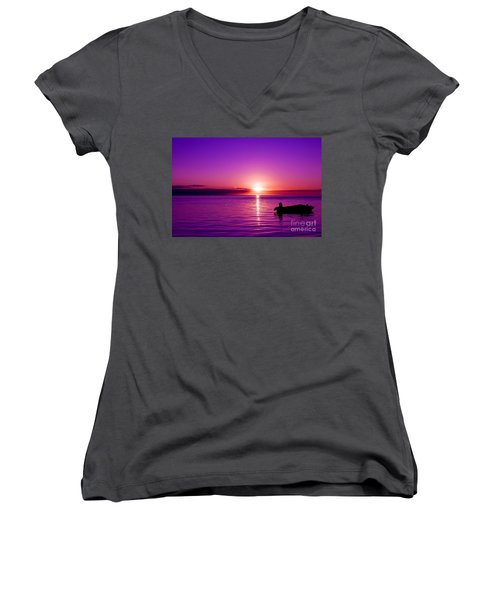 Purple Sunrise Women's V-Neck