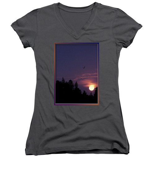 Women's V-Neck T-Shirt (Junior Cut) featuring the photograph Purple Sunset With Sea Gull by Peter v Quenter