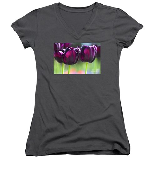 Purple Tulips Women's V-Neck (Athletic Fit)