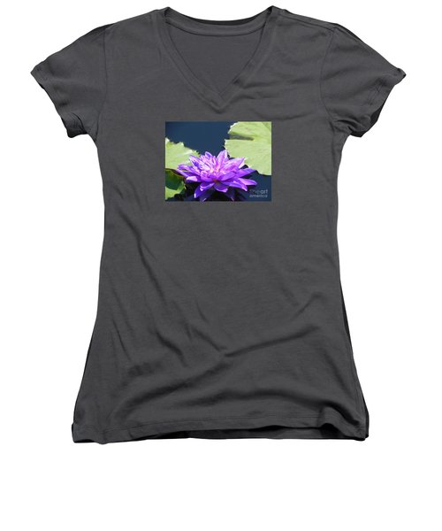 Women's V-Neck T-Shirt (Junior Cut) featuring the photograph Purple Waterlilie Flower by Chrisann Ellis