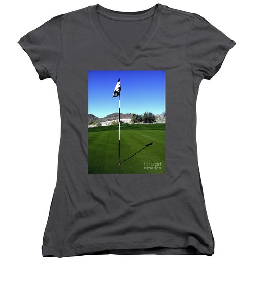 Putting Green And Flag On Golf Course Women's V-Neck