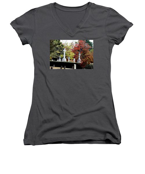 Women's V-Neck T-Shirt (Junior Cut) featuring the photograph Quad Crosses In Fall by Lesa Fine