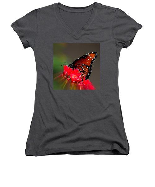 Queen Butterfly II Women's V-Neck