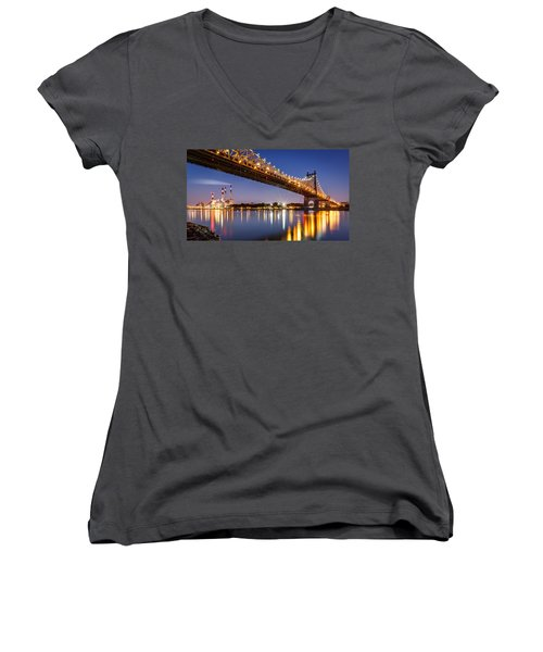 Queensboro Bridge Women's V-Neck T-Shirt (Junior Cut) by Mihai Andritoiu