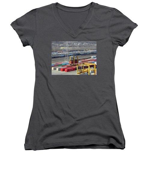 Women's V-Neck T-Shirt (Junior Cut) featuring the photograph Queensgate Yard Cincinnati Ohio by Kathy Barney