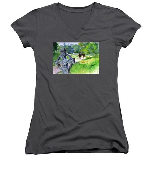 Quiet Man Watercolor 2 Women's V-Neck T-Shirt (Junior Cut) by John D Benson