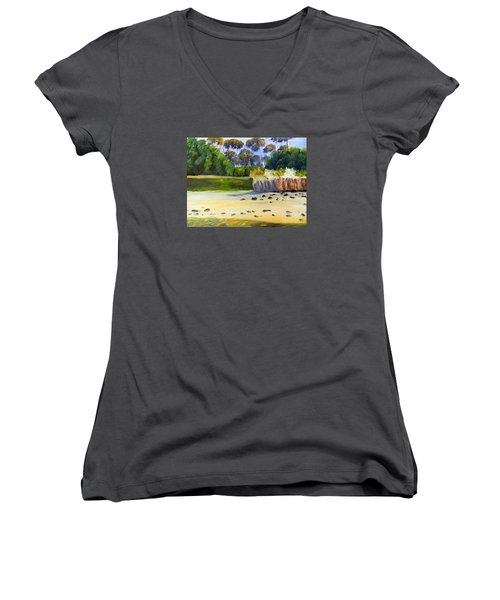 Women's V-Neck T-Shirt (Junior Cut) featuring the painting Quiet Sand By The Creek by Pamela  Meredith