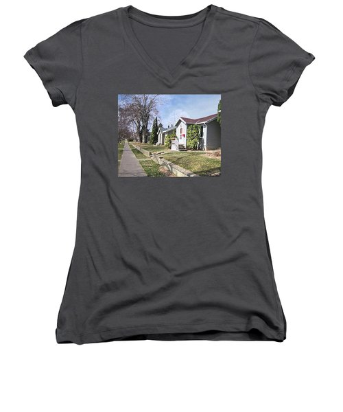 Quiet Street Waiting For Spring Women's V-Neck T-Shirt (Junior Cut) by Donald S Hall