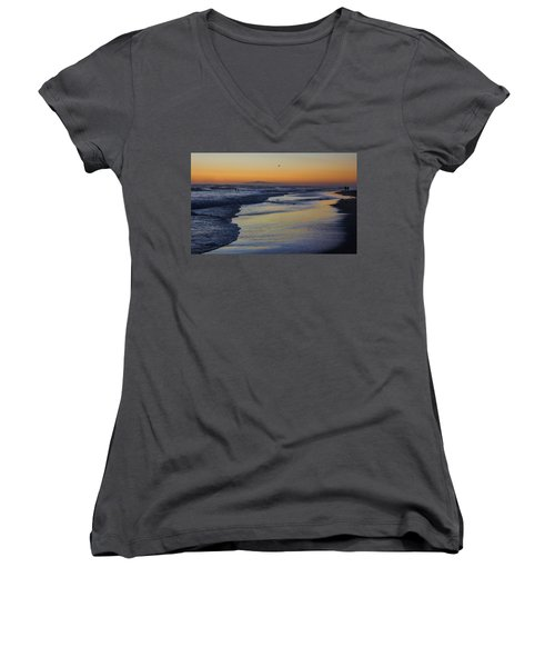 Women's V-Neck T-Shirt (Junior Cut) featuring the photograph Quiet by Tammy Espino