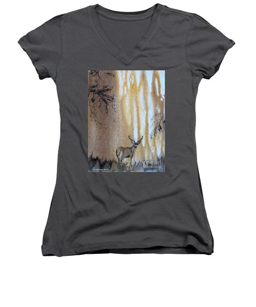 Quiet Time2 Women's V-Neck T-Shirt (Junior Cut) by Laurianna Taylor