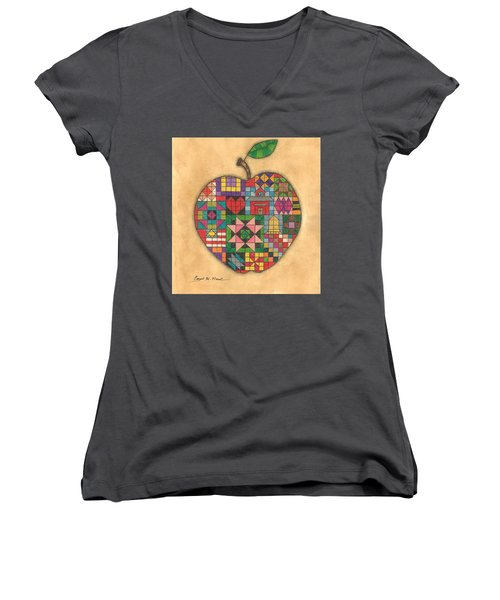 Quilted Apple Women's V-Neck (Athletic Fit)