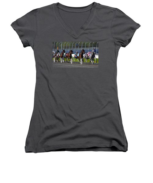 Women's V-Neck T-Shirt (Junior Cut) featuring the photograph Race To The Finish by Davandra Cribbie