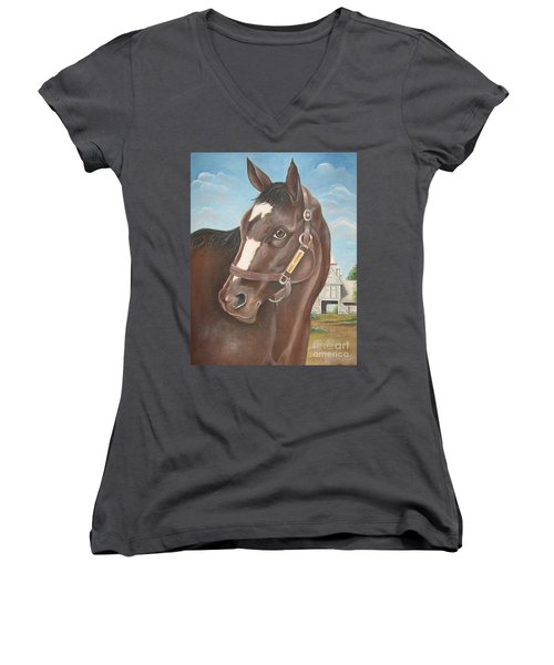Women's V-Neck T-Shirt (Junior Cut) featuring the painting Rachel Alexandra At Stonestreet Farms by Patrice Torrillo