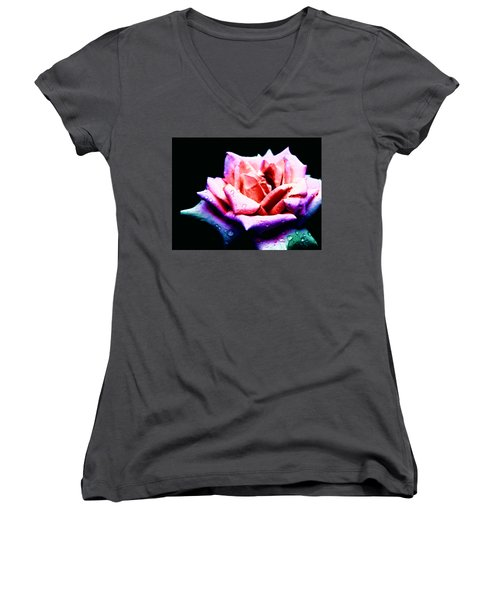 Rachel's Rose Women's V-Neck T-Shirt (Junior Cut) by Rachel Mirror