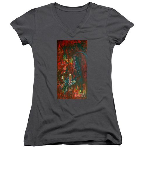Women's V-Neck T-Shirt (Junior Cut) featuring the painting Radiating Light by Mini Arora