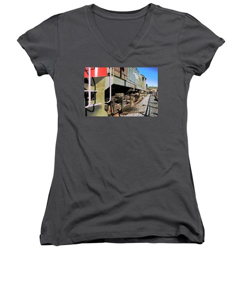 Women's V-Neck T-Shirt (Junior Cut) featuring the photograph Rail Truck by Michael Gordon