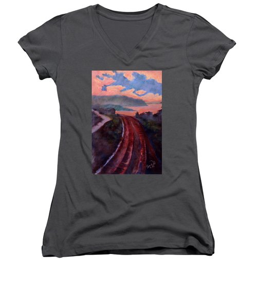 Railroad Women's V-Neck T-Shirt (Junior Cut) by Susan Will