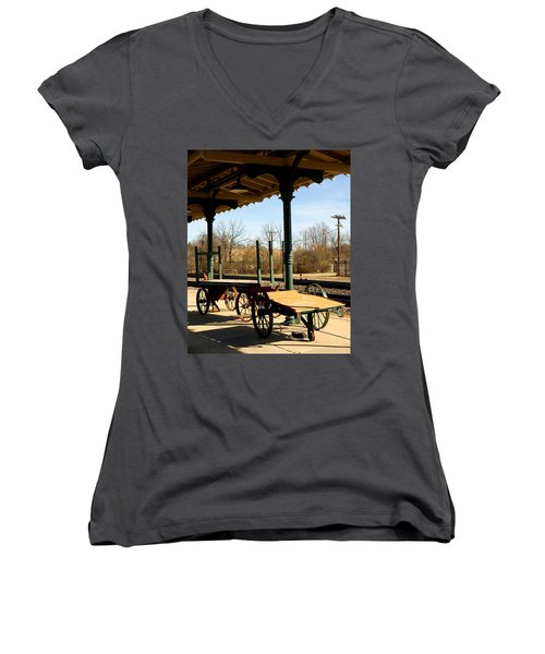 Railroad Wagons Women's V-Neck (Athletic Fit)