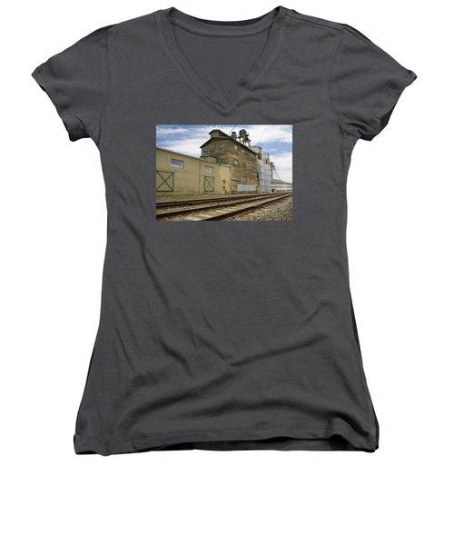 Railway Mill Women's V-Neck T-Shirt (Junior Cut) by Sonya Lang