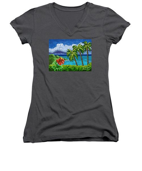 Women's V-Neck T-Shirt (Junior Cut) featuring the painting Rain In The Islands by Tim Gilliland