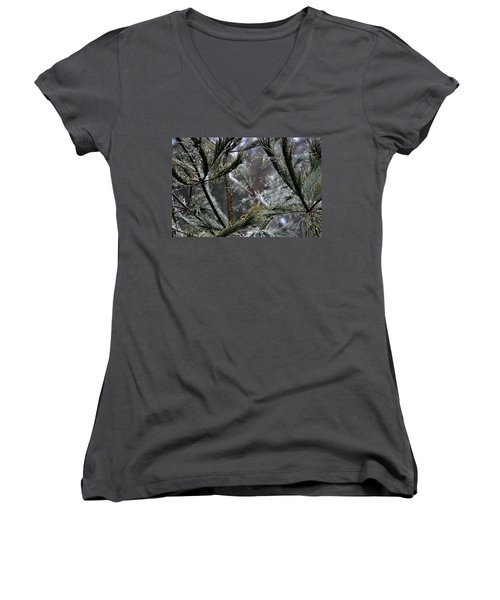 Rain On Pine Needles Women's V-Neck (Athletic Fit)