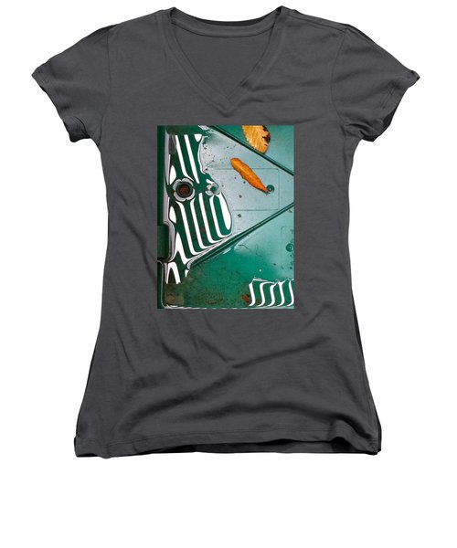 Women's V-Neck T-Shirt (Junior Cut) featuring the photograph Rain Reflections by Bill Owen