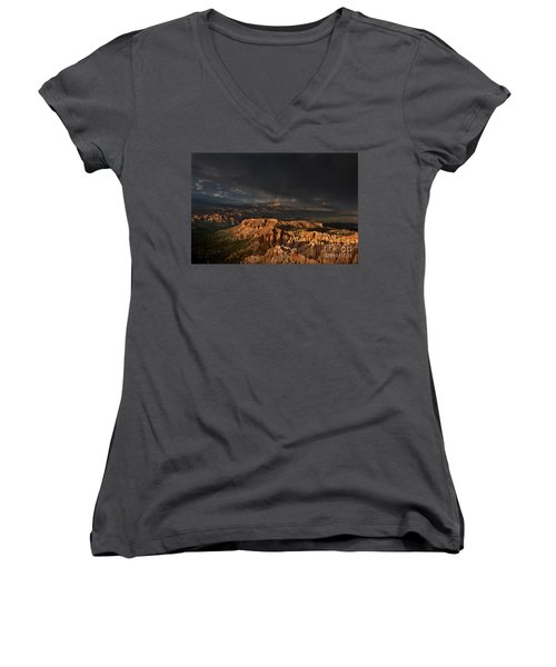 Women's V-Neck featuring the photograph Rainbow And Thunderstorm Over The Paunsaugunt Plateau  by Dave Welling