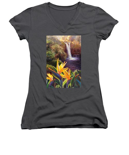 Rainbow Falls Big Island Hawaii Waterfall  Women's V-Neck