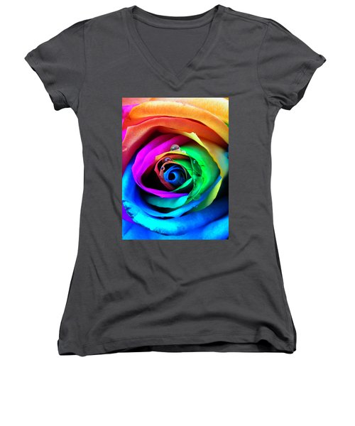 Rainbow Rose Women's V-Neck (Athletic Fit)